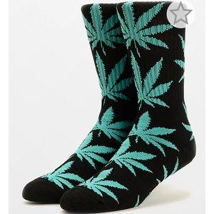 HUF Plantlife Mint and Black Weed Leaf Crew Socks